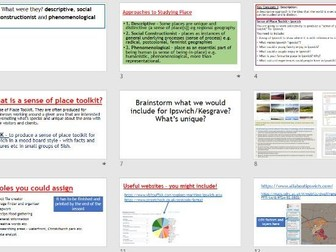 AQA A-LEVEL Changing Places - Sense of Place Toolkit (Lesson + Resources)