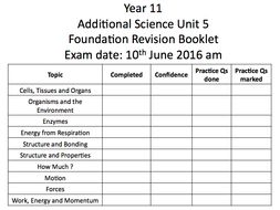 AQA Science revision booklets
