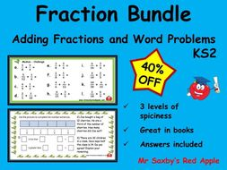 Fractions Bundle - Adding fractions and word problems.