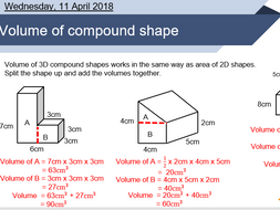 Volume of compound shapes lesson | Teaching Resources