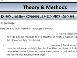 AQA Sociology - Year 2 - Theory & Methods - Conflict and consensus theories