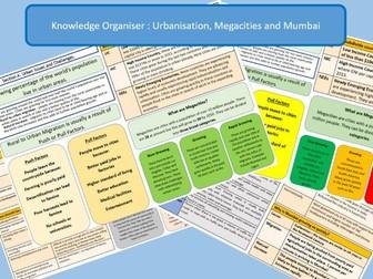 GCSE AQA 9-1: Urban Issues, Urbanisation, Megacities and Mumbai -Knowledge Organisers.