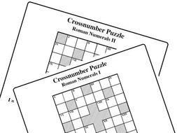 Roman Numerals I II Cross Number Puzzles