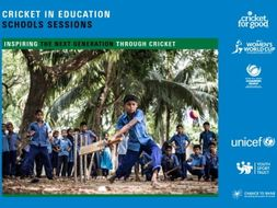 a set of resource cards linking cricket and children's rights for primary schools