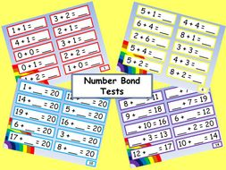Set of number bond tests working with numbers up to 20