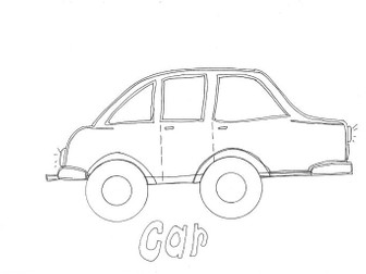 Car Transport and Travel: Colouring Page