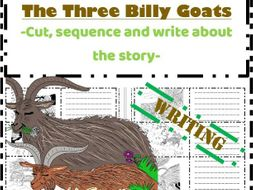 The Three Billy Goats Gruff Writing task- Sequence write colour retell the story