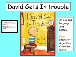 """Phonics awareness """"David Gets in Trouble"""" ESL and ELA bundle with Y-end words"""