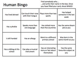 human bingo new class form activity