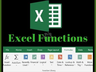 Most used Excel functions - function, syntax, description quick reference sheets