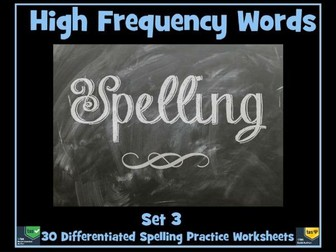 100 High Frequency Words: Spelling Worksheets