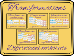 Transformations differentiated worksheets
