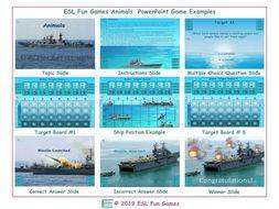 Animals English Battleship PowerPoint Game-An Original by ESL Fun Games