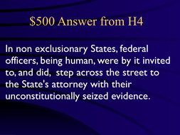 Jeopardy Law Game Exclusionary Rule, Search Seizure, Mapp v. Ohio