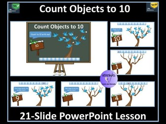 Count Objects to 10 - 21 Slide PowerPoint Lesson to Support White Rose Maths Year 1, Block 1 Scheme