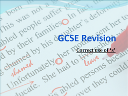 GCSE Revision - any spec - Correct use of 's'