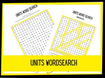 Units wordsearch | KS2 KS1 Science