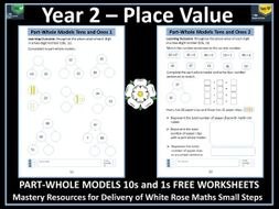 Place Value:  Year 2 - Part-Whole Models - 10s and 1s - FREE Worksheets