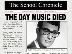 Buddy Holly The Day Music Died Newspaper Comprehension Text