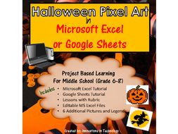 Halloween Themed Pixel Art in MS Excel or Google Sheets