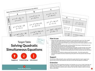 Solving Quadratic Simultaneous Equations (Target Table)