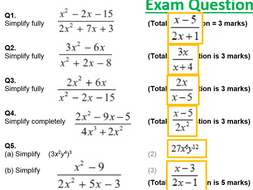 Algebraic Fractions Complete By Chriswallis2 Teaching Resources Tes