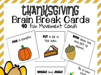 Brain Break Cards {Thanksgiving and Autumn}