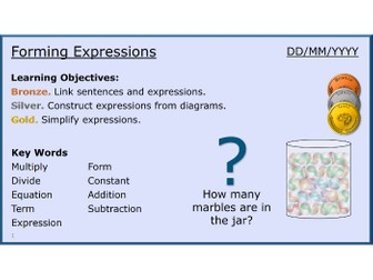 Algebra 03/31 Forming Expressions