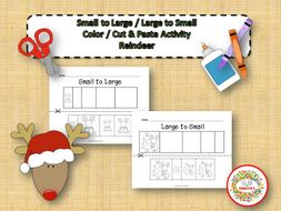 Sort by Size Activity Sheets - Color, Cut, and Paste - Reindeer Theme
