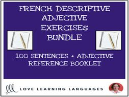 10 French descriptive adjectives exercises BUNDLE + Adjective resource booklet