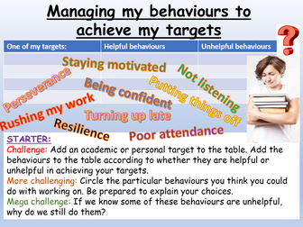 Back to School - Behaviour + Targets