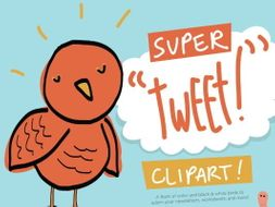 "Super ""Tweet!"" Bird Clip Art Set – Commercial-Use"