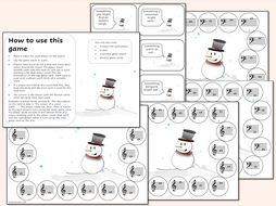 Christmas Snowman Music Note Recognition Game