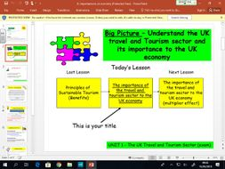 Travel and Tourism BTEC first level 2 - UNIT 1 - lesson 6 - Importance to UK Economy