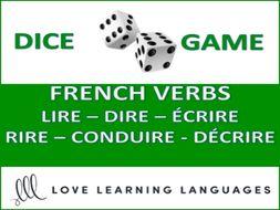 GCSE FRENCH: Dice Game - French Verbs LIRE - DIRE - ÉCRIRE - RIRE - CONDUIRE - DÉCRIRE