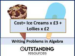 Writing Problems in Algebra (expressions, equations and formula) + worksheet