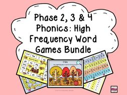 Phase 2, 3 & 4 Phonics High Frequency Word Games/Activities
