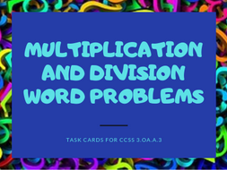 Multiplication and Division Word Problems-Math Task Cards