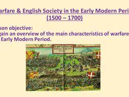 Warfare & British Society 1500 - 1700  worksheet & starter activity.