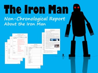 Example Non-Chronological Report About The Iron Man, Plus Feature Identification Sheet with Answers