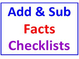 Addition Facts Checklist PLUS Subtraction Facts Checklist (200 Facts / 10 Worksheets)