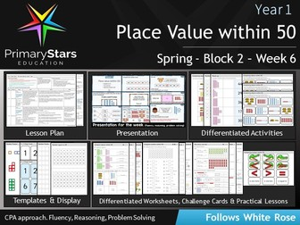 YEAR 1 - Place Value (within 50) - White Rose - WEEK 6 - Block 2 - Spring- Differentiated Pack