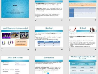 Data, Maths, Graphs & Significance Research Methods Revision