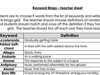 GCSE musical Elements - keyword bingo