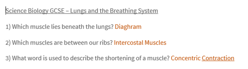 Science GCSE Biology - The Breathing System and The Lungs