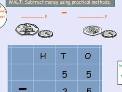Money Year 2 KS1 addition and subtraction lesson resources / activities and Smart board  for mastery