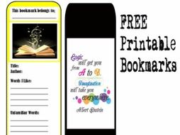 free printable vocabulary bookmark with inspirational quotes by