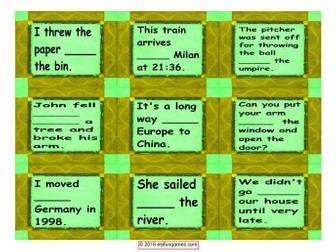 Prepositions of Movement Cards with Text 4 Pages = 36 Cards