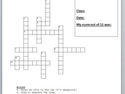 Equipment and Safety in the laboratory crossword puzzle with answers.