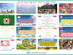 Telling Time Piggy Bank English Interactive PowerPoint Game